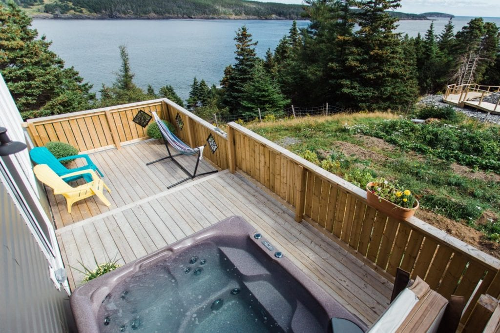 Blue Whale Private Hot Tub Deck, a great place to soak in a hot tub overlooking the witless bay marine ecological reserve, and whale Watch